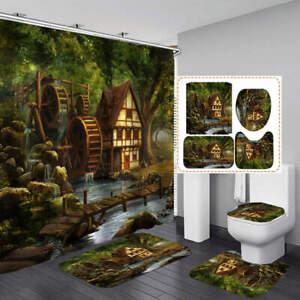 Forest Chalet Art Shower Curtain Bath Mat Toilet Cover Rug Bathroom Decor