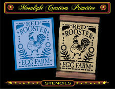 Primitive Stencil~Vintage Style~Red Rooster Egg Farm~Colonial Early American