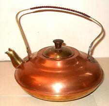 VINTAGE Copper & Brass Teapot Tea Kettle Holland LM Wrap Slant Handle Art Deco