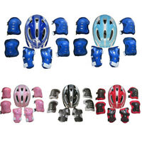 7Pcs Boys Girls Kids Safety Helmet Knee Elbow Pad Set For Cycling Skate Bike New