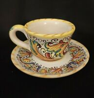 Meridiana Ceramiche #MC61 Dueling Dragons Demitasse Cup & Saucer Vintage