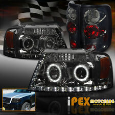 (BLACK-OUT) 2004-2008 Ford F150 Halo Projector LED Headlight + Smoke Tail Light