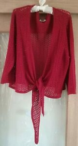 Autograph Size XL Cropped Cardigan Tie Front Cherry Red