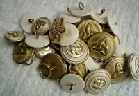 30 SMALL SILVER & WHITE PLASTIC AUSTRALIAN MILITARY 2 CM BUTTONS NAVY