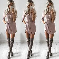 Women Lady Summer Long Sleeve Casual Blouse Loose Tops T Shirt Mini Dress Tunic
