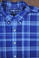 Polo Ralph Lauren SS Button Front Shirt Blue Check Men's XXL
