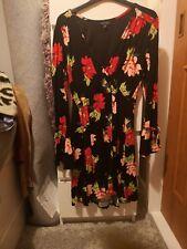 Topshop Black and Red Floral Skater Dress sz.12