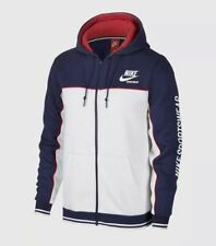NIKE SPORTSWEAR FLEECE ARCHIVE F/Z HOODIE NAVY/WHT/RED MEN'S SZ L NEW 941853-429