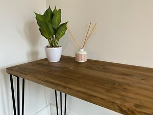 Hand Made wooden desk with metal 3 pronged legs - wood stained jacobean oak