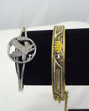 Signed SISK pewter eagle cuff bracelet & gold tone hinged bangle lleaf design