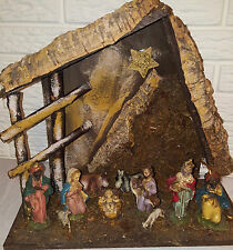 Vtg Italian Wood Manger Nativity Set Christmas Italy