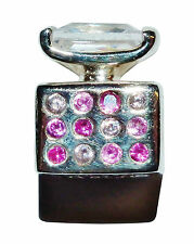 "Pre-Owned Genuine CHAMILIA Silver & Pink Gem Set ""Perfume Bottle"" Bead - #1"