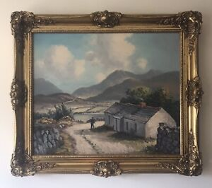 Original Irish Art Oil On Canvas Painting The Mournes From Hilltown By WH Burns