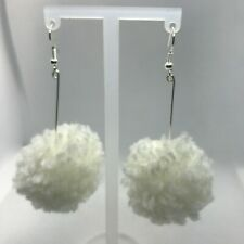 "Women White  Pom pom 2"" Dangle pierced Earrings Silver Hook Jewelry US Auction"