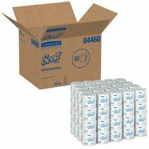 80 Rolls Toilet Tissue Scott White 2-Ply Standard Size Cored Roll 550 Sheets