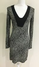 Cue Women's Print Shift Dress Black Cream Size 8