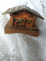 Vintage Wooden Tiny  House Ornament  Box with Hinged Lid  5 x 7 Cm Quaint Praire