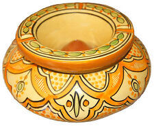 Moroccan XL Cigar  Ceramic  Ashtray Hand Made Colorful Outside Smockless Patio