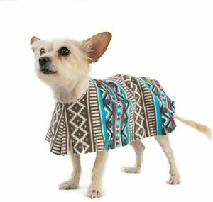 Poocho Fleece Dog Poncho Aztec Teal - Dog Clothing (Easy Slip-On)