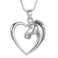 925 Sterling Silver Heart & Horse Pendant with Necklace Chain UK SELLER slv P03