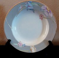 Mikasa Fine China Charisma Gray Rim Soup Bowls x1 Gray Rim Multicolor Flowers