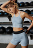 NEW Free People Movement Seamless Prajna Short Yoga Iced Blue XS/S & M/L $48.34
