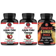 Just Pure Apple Cider Vinegar (2PK) Weight Loss & Turmeric Ginger Health Combo