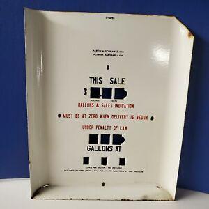 Vintage Martin & Schwartz Porcelain Gas Pump Face Plate C-15093 - GL286