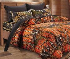 7pc King HUNTER ORANGE CAMO COMFORTER / Black SHEET SET : WOODLAND BED BAG WOODS