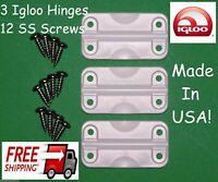 3 IGLOO COOLER REPLACEMENT HINGES + STAINLESS STEEL SCREWS HINGE PARTS KIT 24012