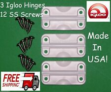 3 pk Igloo Cooler Hinges Replacement Plastic Hinge set 12 stainless screws 24012