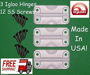 3 IGLOO COOLER REPLACEMENT PLASTIC HINGES + STAINLESS SCREWS HINGE PARTS KIT