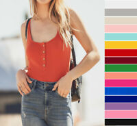 Women's Henley Tank Top Scoop Neck Solid Soft Stretch Knit Cotton Sleeveless