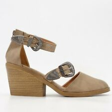 New Buckle x Qupid Western Modern Wedge Strappy Heeled Sandals US 10