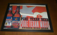 LONE STAR PURE TEXAN BEER FRAMED COLOR AD PRINT