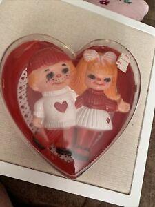 Acrylic Heart Shaped Valentine Trinket Box W/ Plastic Sweetheart Doll Hong Kong