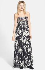 NEW Billabong Maxi Dress XS Black Embroidered Strapless $75 Retail Off Black