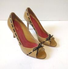 Kate Spade NY Women's Size 8 Tan & Black Peep Toe Leather Pumps Bow Stitching