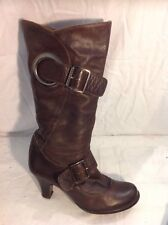Faith Brown Mid Calf Leather Boots Size 39