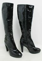 SERGIO ROSSI Ladies Black Patent Leather Buckle Detail Knee High Boots UK7 EU40