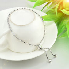 Chic Rhinestone Crystal Tennis Bracelet Adjustable Fashion Women Jewelry Silver