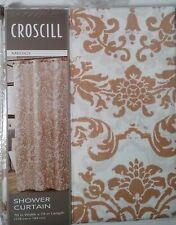 CROSCILL Medici Wheat 100% Fabric Shower Curtain Tan White Urn Floral