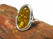 AMBER  Sterling  Silver  925  Gemstone  RING  -  Size: O  -  Gift Boxed!