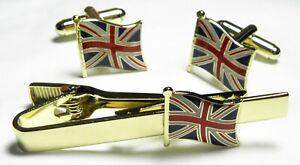 Union Jack Flag Cuff Links & Tie Bar Clip Great Britain GB UK Cufflinks Set