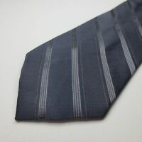 Perry Ellis Portfolio 100% Silk Mens Gray Striped Necktie Tie Z11