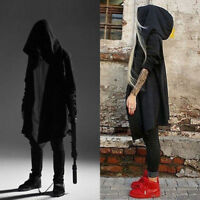 Men Hooded Jacket Long Cardigan Black Ninja Goth Gothic Punk Hoodie Black/Grey