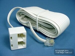 Leviton White 25ft Phone Line Dual Extension Cord RJ11 RJ11 RJ14 4Wire C2427-25W