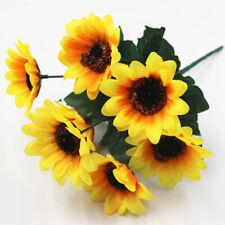 7 Heads/Bouquet Fake Sunflowers Artificial Silk Flower Home Office Wedding Decor