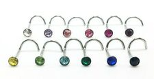 Large 3mm Gem Crystal 20g Twisted Curved Nose Screw Steel Bar Stud Ring Piercing