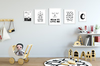 Set of 5 Boys Bedroom Prints / Pictures for Playroom Kids Room / Black & White 2